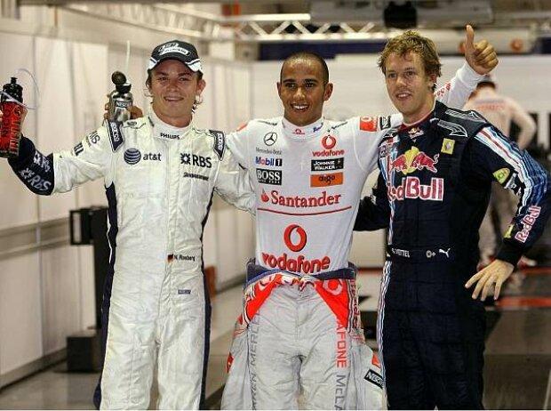 Nico Rosberg, Lewis Hamilton und Sebastian Vettel