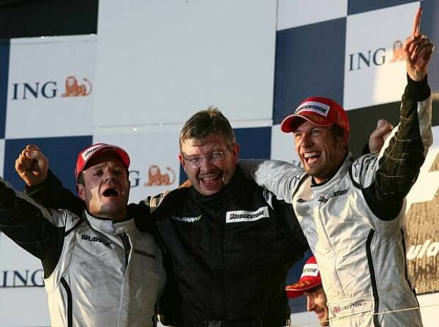 Rubens Barrichello, Ross Brawn und Jenson Button