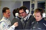 Michael Schumacher (Mercedes), Renningenieur Andrew Shovlin und Nico Rosberg (Mercedes)