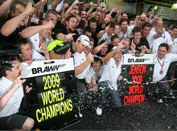 Ross Brawn (Teamchef), Rubens Barrichello, Jenson Button