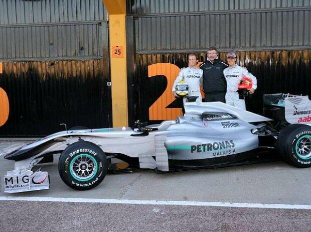 Ross Brawn (Teamchef), Nico Rosberg, Michael Schumacher