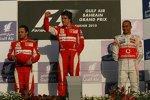 Felipe Massa (Ferrari), Fernando Alonso (Ferrari) und Lewis Hamilton (McLaren)