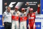 Jenson Button (McLaren), Lewis Hamilton (McLaren) und Fernando Alonso (Ferrari)