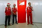 Fernando Alonso, Felipe Massa und Stefano Domenicali (Teamchef)