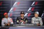 Lewis Hamilton (McLaren), Mark Webber (Red Bull) und Nico Rosberg (Mercedes)