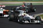 Pedro de la Rosa (Sauber), Adrian Sutil (Force India) und Michael Schumacher (Mercedes)