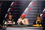 Mark Webber (Red Bull), Lewis Hamilton (McLaren) und Robert Kubica (Renault)