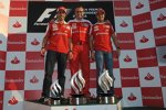 Fernando Alonso, Stefano Domenicali (Teamchef) und Felipe Massa