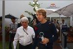 Bernie Ecclestone (Formel-1-Chef) und Sebastian Vettel (Red Bull)