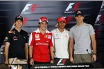 Die WM-Kandidaten vor dem letzten Saisonrennen: Sebastian Vettel (Red Bull), Fernando Alonso (Ferrari), Lewis Hamilton (McLaren) und Mark Webber (Red Bull)