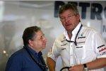 FIA-Präsident Jean Todt und Ross Brawn (Teamchef)