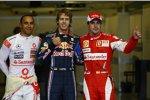 Lewis Hamilton (McLaren), Sebastian Vettel (Red Bull) und Fernando Alonso (Ferrari)