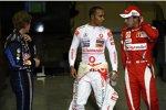 Sebastian Vettel (Red Bull), Lewis Hamilton (McLaren) und Fernando Alonso (Ferrari)