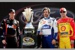 Vor dem Rennen:Denny Hamlin, Jimmie Johnson, Kevin Harvick und der Pokal