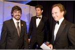 Fernando Alonso (Ferrari), Mark Webber (Red Bull) und Christian Horner (Teamchef)