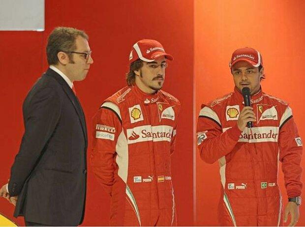 Stefano Domenicali (Teamchef), Fernando Alonso, Felipe Massa