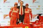 Fernando Alonso, Luca di Montezemolo (Präsident) und Felipe Massa
