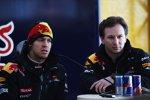 Sebastian Vettel (Red Bull) und Christian Horner (Teamchef)