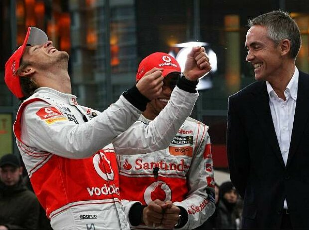 Jenson Button, Lewis Hamilton und Martin Whitmarsh