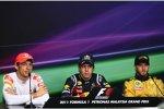Jenson Button (McLaren), Sebastian Vettel (Red Bull) und Nick Heidfeld (Renault)