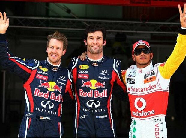 Sebastian Vettel, Mark Webber und Lewis Hamilton