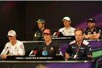 Pressekonferent am Mittwoch in Monte Carlo. Obere Reihe: Jarno Trulli (Lotus), Nico Rosberg (Mercedes) und Nick Heidfeld (Renault); untere Reihe: Michael Schumacher (Mercedes), Jenson Button (McLaren) und Rubens Barrichello (Williams)