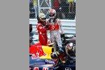 Fernando Alonso (Ferrari), Jenson Button (McLaren) und Sebastian Vettel (Red Bull)