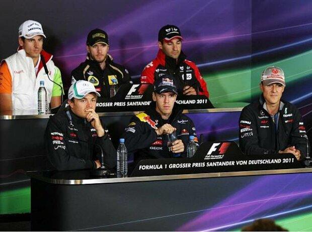 Michael Schumacher, Timo Glock, Sebastian Vettel, Nick Heidfeld, Nico Rosberg, Adrian Sutil