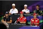 Obere Reihe: itantonio Liuzzi (HRT), Kamui Kobayashi (Sauber) und Jarno Trulli (Lotus); untere Reihe: Mark Webber (Red Bull), Fernando Alonso (Ferrari) und Felipe Massa (Ferrari)