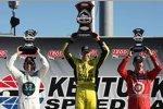 Das Kentucky-Podium: Ed Carpenter (1.), Dario Franchitti (2.), Scott Dixon (3.)