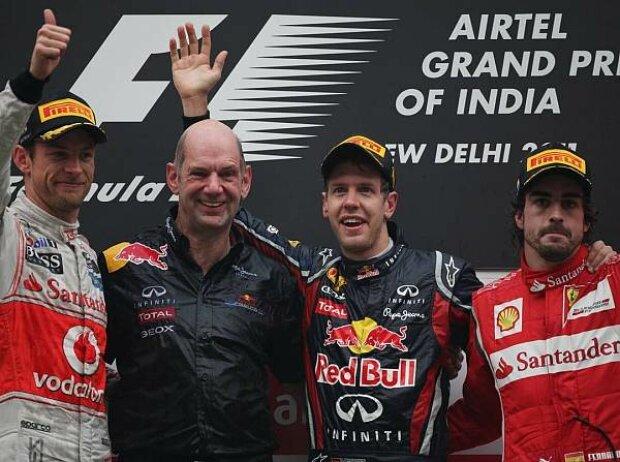 Jenson Button, Adrian Newey, Sebastian Vettel und Fernando Alonso