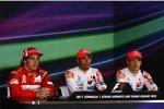 Fernando Alonso (Ferrari), Lewis Hamilton (McLaren) und Jenson Button (McLaren)