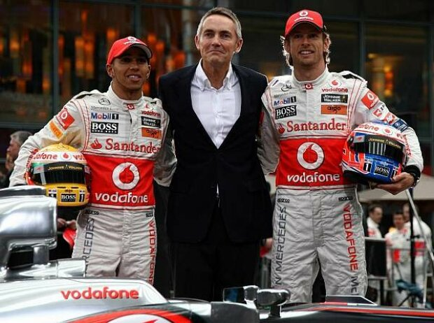 Lewis Hamilton, Martin Whitmarsh (Teamchef), Jenson Button