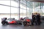Ron Dennis, die McLaren-Fahrer und Premierminister David Cameron
