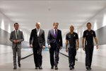 Ron Dennis, David Cameron, Lewis Hamilton und Jenson Button