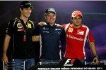 Bruno Senna (Renault), Rubens Barrichello (Williams) und Felipe Massa (Ferrari)