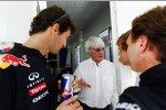 Mark Webber, Bernie Ecclestone, Sebastian Vettel und Christian Horner (Red Bull)