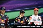 Mark Webber (Red Bull), Sebastian Vettel (Red Bull) und Jenson Button (McLaren)