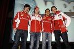 Fernando Alonso, Nicky Hayden, Felipe Massa und Valentino Rossi