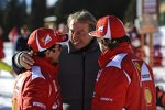 Luca di Montezemolo (Präsident) mit Felipe Massa und Fernando Alonso