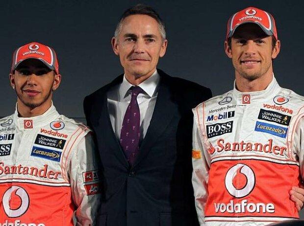 Jenson Button, Martin Whitmarsh (Teamchef), Lewis Hamilton