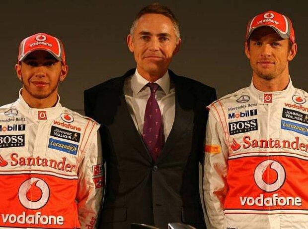 Lewis Hamilton, Martin Whitmarsh (Teamchef), Jenson Button