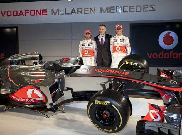 Martin Whitmarsh (Teamchef), Lewis Hamilton, Jenson Button