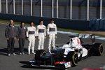 Peter Sauber (Teamchef) Kamui Kobayashi (Sauber) Esteban Gutierrez