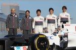 Peter Sauber (Teamchef), Monisha Kaltenborn (Geschäftsführerin) und die Fahrer Kamui Kobayashi, Sergio Perez und Esteban Gutierrez