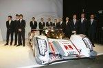 Der neue Audi R18 e-tron quattro und die zwölf Piloten für Le Mans