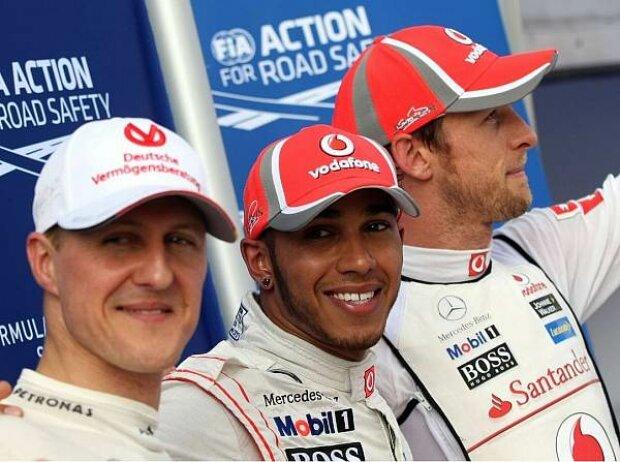 Michael Schumacher, Lewis Hamilton und Jenson Button