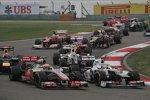 Lewis Hamilton (McLaren) Kamui Kobayashi (Sauber)