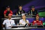 Pressekonferenz am Donnestag - oberer Reihe: Timo Glock (Marussia), Romain Grosjean (Lotus) und Heikki Kovalainen (Caterham); untere Reihe: Lewis Hamilton (McLaren), Nico Rosberg (Mercedes) und Felipe Massa (Ferrari)