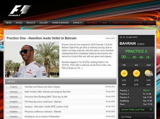 Screenshot von formula1.com